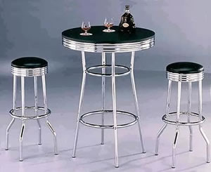 Ny Retro Tall Breakfast Poseur Table And Stool Set