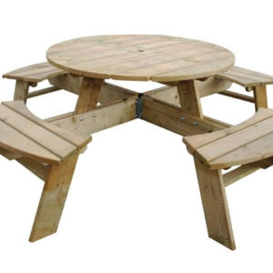Raysoni Large Round 8 Seater Picnic Bench Wooden For Garden Outdoor Use