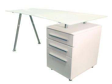 Ohio White Glass Laptop Computer Desk With Drawers