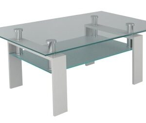 Jorda Coffee Table - Clear And Frosted Glass Stainless Steel With Shelf