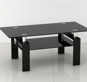 Petra Coffee Table - Black Glass And Frame 2 Shelves