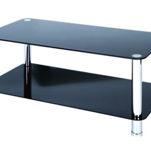 Lotus Coffee Table - Black Glass With Chrome Legs