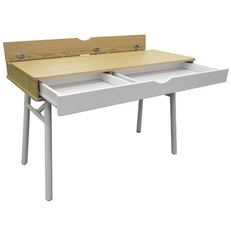 Mellie Hideaway Office Desk Computer Workstation Oak White