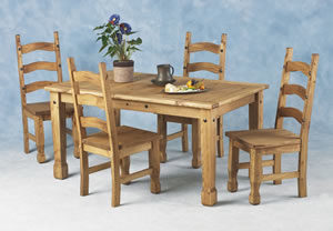 Kayley Pine Dining Set Table & 4 Chairs