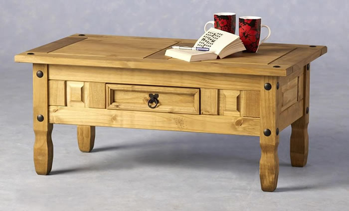 Dorset Traditional Pine Coffee Table With Drawer