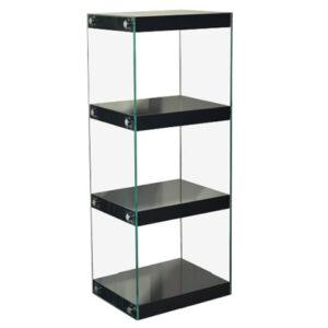 Neris Medium Dvd Cd Display Stand - Glass With Black Gloss Shelves