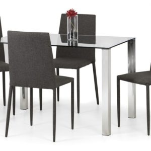 Eran Chrome And Glass Compact Modern Stylish Dining Table With 4 Fully Assembled Chairs