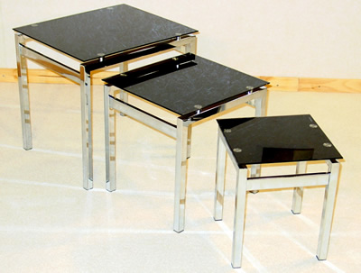 Elsin Nest Of Tables In Black Glass And Chrome