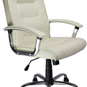 Eurostyle Cream Real Leather High Back Office Chair