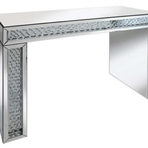 Rumba Sophisticated Mirror Glass Console Table With Glass Crystal Decoration