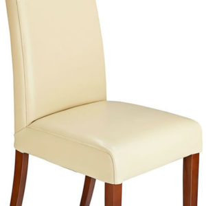 Florence Cream Bonded Leather Dining Kitchen Chair Walnut Legs Padded Seat And Back Fully Assembled