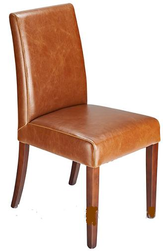 Florence Tan Aniline Real Leather Dining Kitchen Chair Walnut Legs Padded Seat And Back Fully Assembled