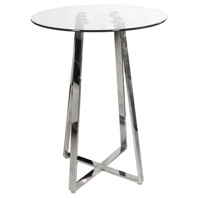 Nerix Round Glass Top Tall Kitchen Bar Poseur Table