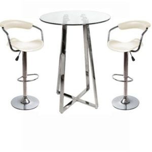 Nerix Clear Round Glass Top Tall Poseur Bar Table And Padded Stools