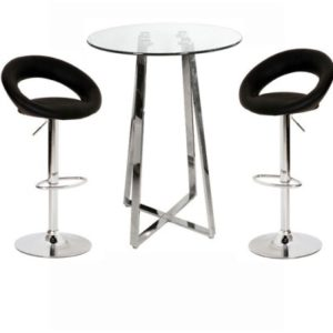 Nerix Clear Glass Top Tall Poseur Table And Leo Padded Stools