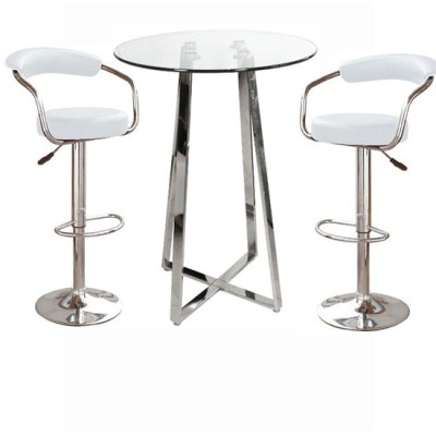 Nerix Round Glass Top Tall Poseur Table And Zen Padded Stools