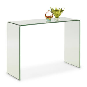 Trax Bent Clear Glass Console Hall Table