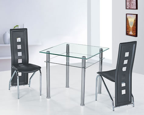 Gara Glass Square Dining Table Set With 2 Black Dining Chairs