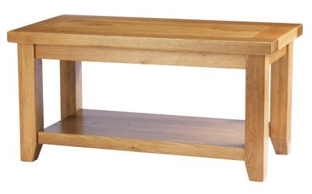 Helio Solid Oak Coffee Table With Base Shelf