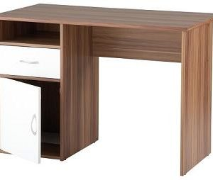 Lynn Walnut Home Office Desk With White Door/Drawer