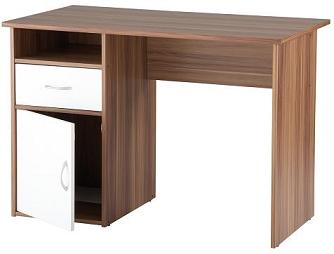 Lynn Walnut Home Office Desk With White Door/Drawer