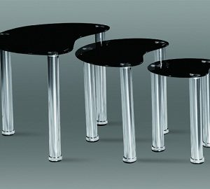 Spade Nest Of Tables - Black Glass