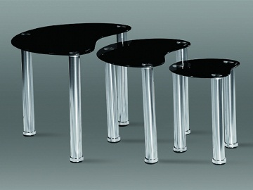 Spade Nest Of Tables - Black Glass