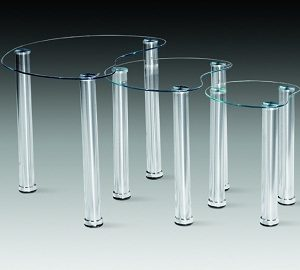 Spade Nest Of Tables - Clear Glass Chrome Frame