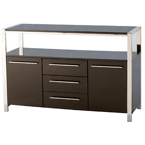 Holly High Gloss 2 Door Sideboard In Black Or White