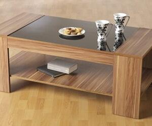 Polywood Walnut And Black Glass Coffee Table