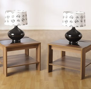 Polywood Walnut Lamp Table - Black Gloss With Shelf
