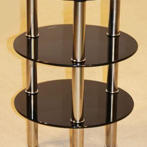 Kanser 3 Shelves Round Side Table Black