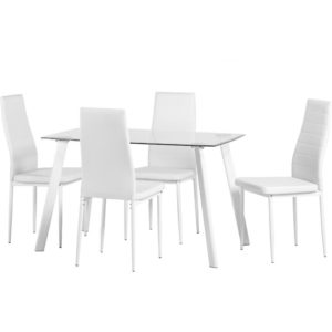 Evanston Dining Kitchen Table Set Clear Glass And White Or Black Legs