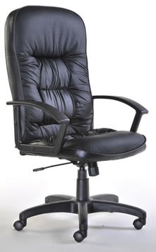 Glender High Back Black Leather Executive Office Chair With Headrest