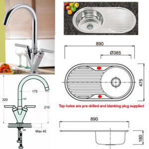 Nerow Stainless Steel Kitchen Sink And Tap Set