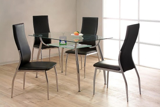 Lazy Chrome Table And 4 Pu Padded C/Hairs