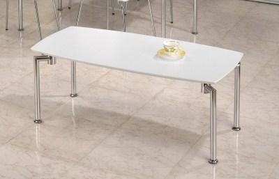 Lila White Coffee Table Rectangular Top Chrome Legs