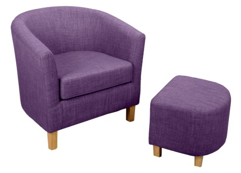 Jairo Linen Effect Tub Chair And Footstool - Colour Selection