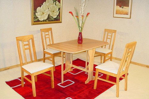 Live Rectangle Wood Extending Table And 4 Padded Chairs