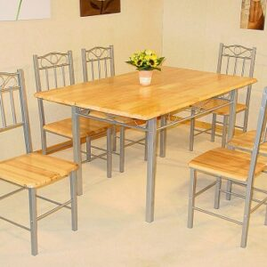 Lola Wood And Silver Table And 6 Chairs