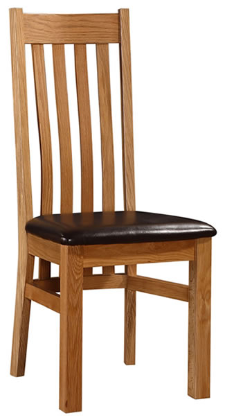 Loussa Solid Oak Dining Kitchen Chair With Padded Seat