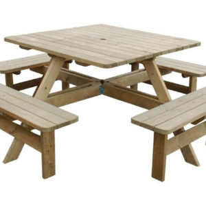 Raysoni Large 8 Seater Bench Wooden Square Picnic Garden Outdoor
