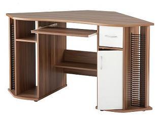 Lysop Walnut Corner Desk Stylish Home Office Work Station