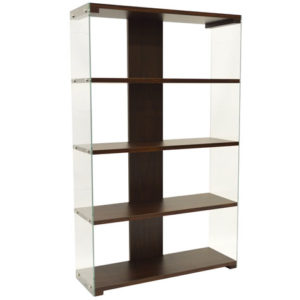Poley Glass 5 Tier Storage Unit Display Shelves - Walnut Or Light Oak