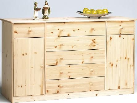 Farm Style Solid Pine With Natural Lacquer Sideboard - 2 Door 2+5 Drawer Danish Made