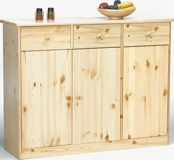 Farm Style Solid Pine With Natural Lacquer Sideboard - 3 Door 3 Drawer Danish Made