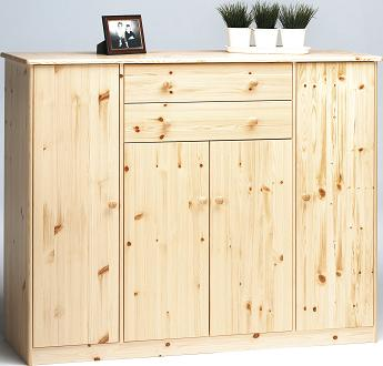 Farm Style Solid Pine With Natural Lacquer Sideboard - 4 Door 2 Drawer Danish Made