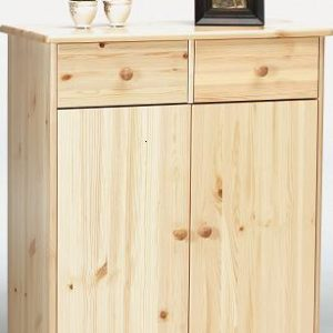 Farm Style Solid Pine With Natural Lacquer Sideboard - 2 Door 2 Drawer Danish Made