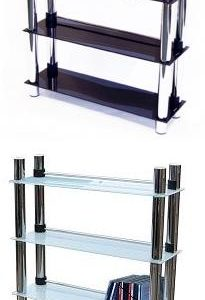 Mazonu Black Glass 5 Tier Media Storage Chrome Frame