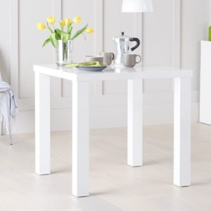 Para Small White High Gloss Square Modern Kitchen Dining Table - Space Saver